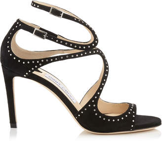 Jimmy Choo IVETTE Black Suede Sandals with Silver Micro Studs