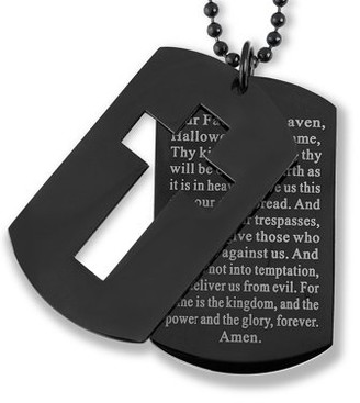 West Coast Jewelry Black Plated Stainless Steel Cross and 'Lord's Prayer' Dog Tag Pendant