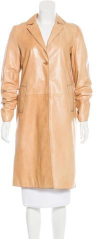 Miu MiuMiu Miu Notch-Lapel Leather Coat