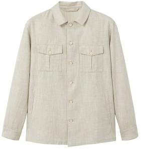 MANGO Linen-cotton blend overshirt