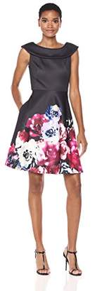 Taylor Dresses Women's Floral Border Print Scuba Fit and Flare Party
