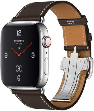 Apple AppleWatch Hermes GPS+Cellular, 44mm Stainless Steel Case with Ebene Barenia Leather Single Tour Deployment Buckle