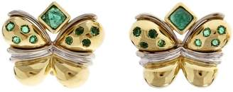 18K Yellow Gold Butterfly Emerald Clip Post Earrings