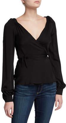 Milly Hallie Long-Sleeve Stretch Silk Wrap Top