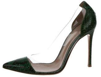 Gianvito Rossi Snakeskin Pointed-Toe Pumps