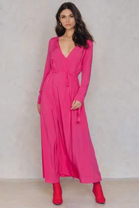 Na Kd Boho Long Sleeve Coat Dress Magenta