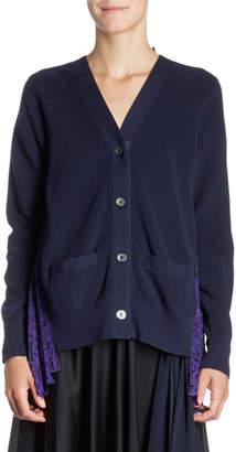 Sacai Pleated Tulle-Back Knit Cardigan