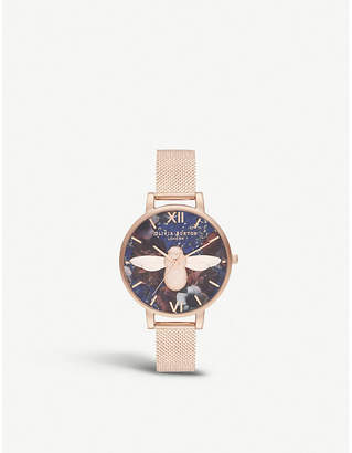 Olivia Burton OB16SP11 Semi-precious bee and floral rose gold-plated and lapis lazuli watch