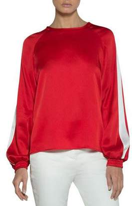 Eleventy Cady Blouse with Striped Sleeves
