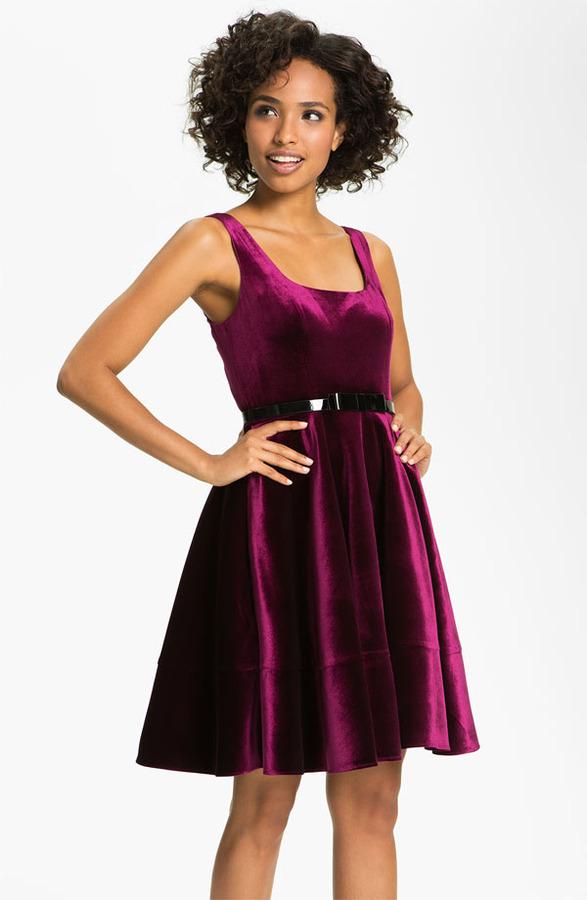 Adrianna Papell Scoop Neck Velvet Fit & Flare Dress
