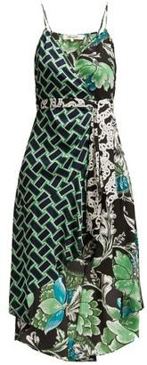 Diane von Furstenberg Katsia Floral Print Crepe Wrap Dress - Womens - Green Print