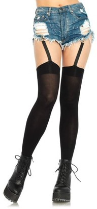 Leg Avenue Women's Opaque Thigh Highs with Garter Straps, One Size