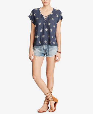 Denim & Supply Ralph Lauren Lace-Up Cotton Sweater $98 thestylecure.com