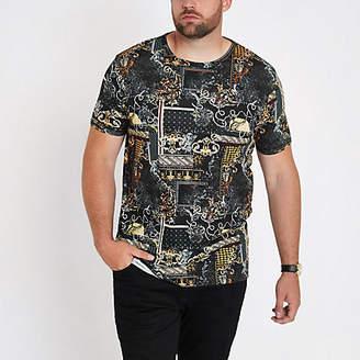 River Island Mens Big and Tall Black print slim fit T-shirt