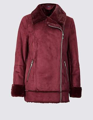 M&S Collection Faux Shearling Biker Jacket