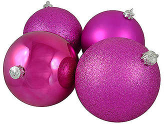 Asstd National Brand 4ct Pink Magenta Shatterproof 4-Finish Christmas Ball Ornaments 6 (150mm)