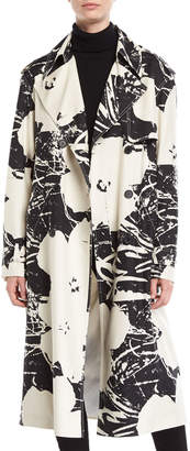 Calvin Klein Double-Breasted Floral-Print Silk Trench Coat