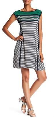 Max Studio Stripe Cap Sleeve Dress