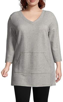 Liz Claiborne 3/4-Sleeve Front-Pocket Pullover - Plus