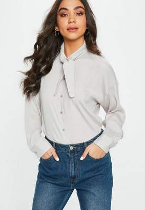 Missguided Gray Satin Tie Neck Blouse