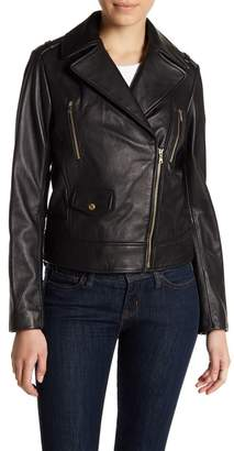 Cole Haan Lamb Leather Zip Jacket