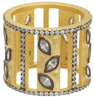Freida Rothman 14K Gold & Rhodium Plated Sterling Silver CZ Fleur Bloom Open Leaf Cigar Band Ring - Size 7
