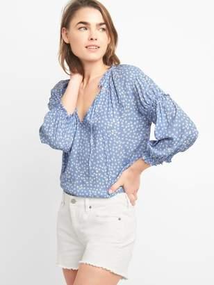 Gap Shirred Long Sleeve Print Blouse