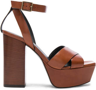 Saint Laurent Leather Farrah Cross Strap Platform Sandals