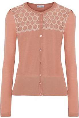 RED Valentino Woman Embroidered Point D'esprit-paneled Wool Cardigan Blush Size S