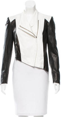 Helmut Lang Leather Bi-Color Jacket $295 thestylecure.com
