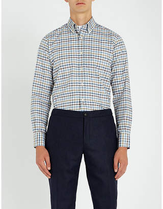 Canali Grid-check cotton shirt