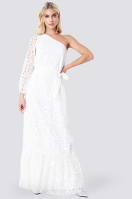 Trendyol Floral One Shoulder Maxi Dress Ecru