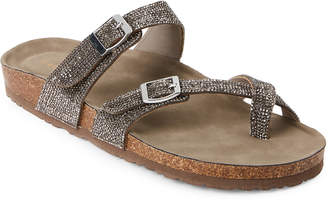 Madden-Girl Pewter Brycee Embellished Footbed Sandals