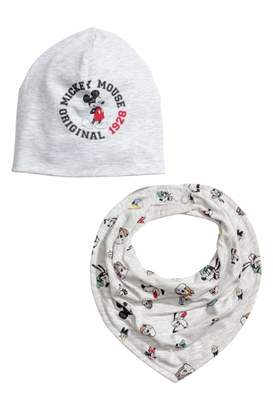 H&M Hat and Triangular Scarf - Gray melange/Mickey Mouse - Kids