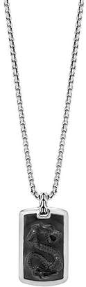 John Hardy Sterling Silver Legends Naga Large Dog Tag Necklace with Black Onyx, 26""