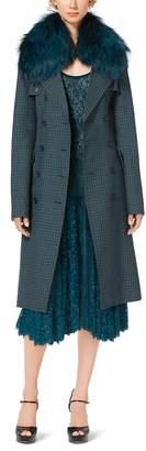 Michael Kors Fox-Collar Guncheck Wool Trench Coat