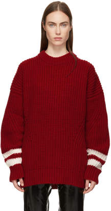 MSGM Red Long Ribbed Crewneck Sweater