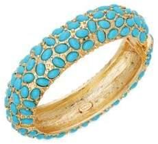 Kenneth Jay Lane Turquoise Hinged Bangle Bracelet