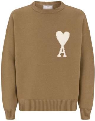 Ami Paris Oversized Heart Logo Wool Sweater