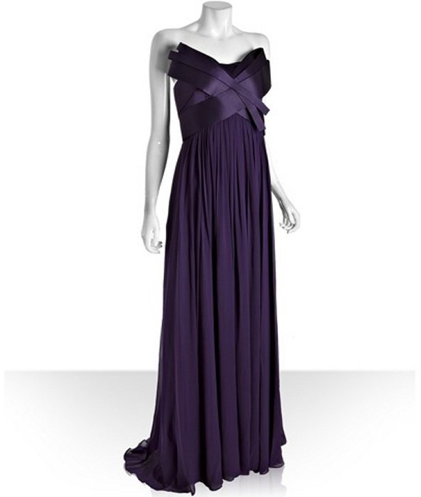 Notte by Marchesa violet silk chiffon strapless sculpted bodice evening gown