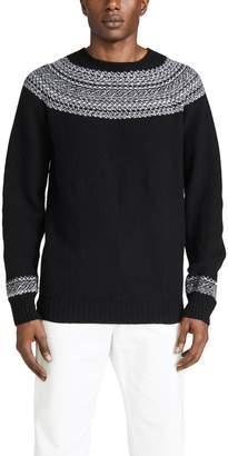 Officine Generale Seamless Reverse Fair Isle Crew Neck Sweater
