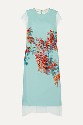Dries Van Noten Floral-print Silk-tulle And Silk Crepe De Chine Dress - Light blue