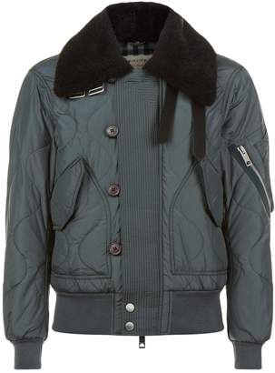 Burberry Shearling Collar Bomber Jacket