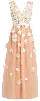 Huishan Zhang - Petal Floral Applique Tulle Gown - Womens - Pink White