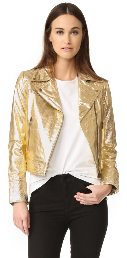 Gold Leather Jacket Womens - Cairoamani.com