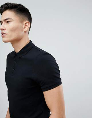 Asos Design Muscle Fit Pique Polo In Black