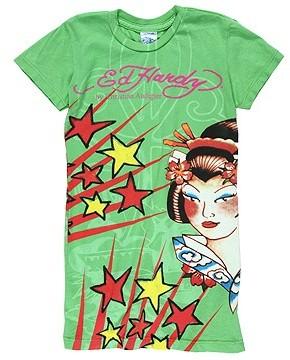 Ed Hardy Kids - Bold Print Tattoo Tunic (Toddler/Little Kids/Big Kids) (Green Geisha)