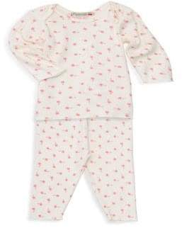 Bonpoint Baby Girl's Two-Piece Pajama Set - Rose - Size 3 Months