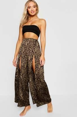 boohoo Leopard Split Leg Beach Trousers