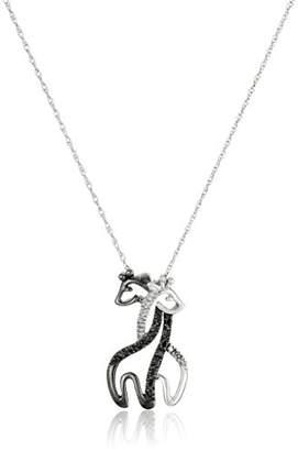 10k White Gold and White Diamond Giraffe Pendant Necklace (.09 cttw)